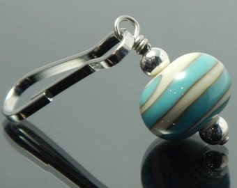 Decorative Zipper Pull for purses, jackets, backpacks and wallets, ivory with turquoise blue swirl, handmade lampwork glass