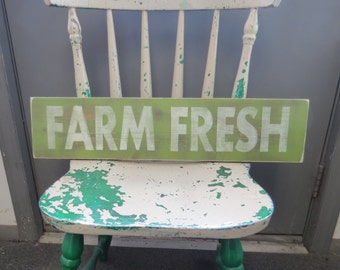 Hand Painted Rustic Wood FARM FRESH Sign, farmers market, fruit stand primitive shabby customize colors