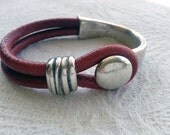 Distressed Red Round Leather and Silver Metal Half Cuff