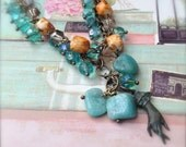 Boho Necklace Aqua Blue & Yellow Bead Necklace with Amazonite Gemstone - A Helping Hand Stock Clearance