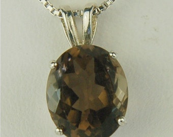 Smoky Quartz Sterling Silver Pendant Solitaire 11x9mm Oval 3.90ct