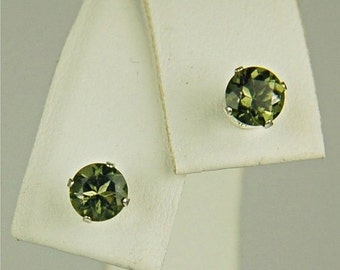 Moldavite Faceted Stud Earrings Sterling Silver 5mm Round .80ctw Rare And Exotic Natural Untreated