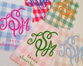 Rectangle monogram gingham tags