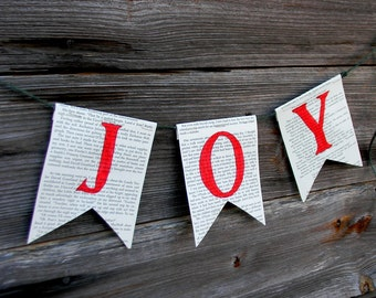 "Christmas Banner  ""JOY"" - Book Page Garland, Paper Holiday Garland, ""JOY"" Banner, Sign, Upcycled Book Page Christmas Garland, Paper Banner"