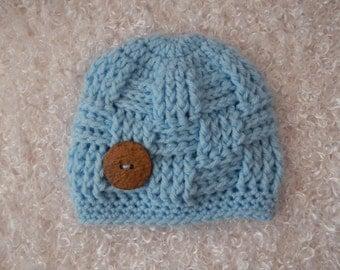 Newborn - Triscuit Weave Baby Boy Hat  - Hand Crocheted