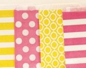 Favor Bags, 20 PINK LEMONADE Treat Bags, Candy Bags, Pink Paper Bags, Yellow Bags, Packaging Bags, Pink Lemonade Party,  Paper Treat Bags