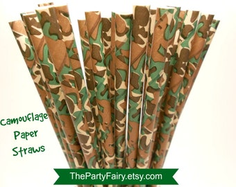 Paper Straws, 25 Camouflage Print Paper Straws, Camo, Hunting, Duck Dynasty, Boy Parties, Camping, Camp Out, Zoo Parties