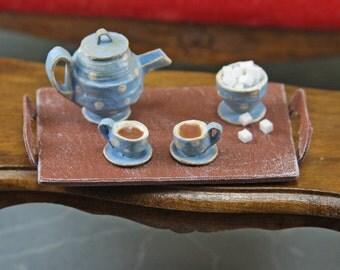 Doll House Miniature - Polka Dot Tea Sets with Tray