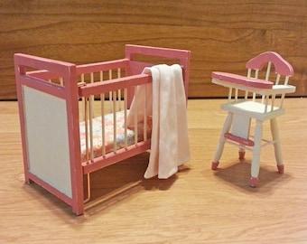 Refurbished Miniature Pink Crib and High Chair Set