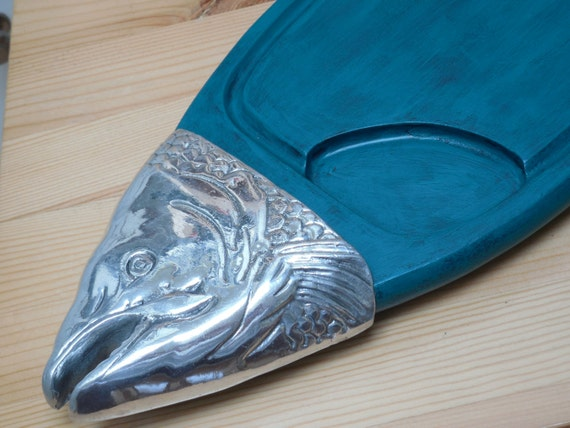 Hand Painted Teal Fish Wood Platter Serving Tray With By