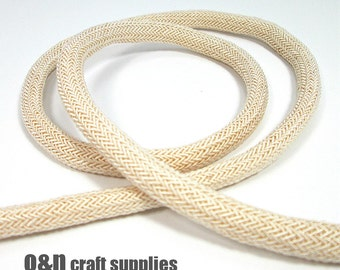 Braided silk cord, 8mm off white bookbinding rope, (1m)