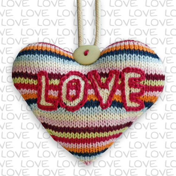 Heart Decoration Knitting Pattern : LOVE Heart hanging decoration knitting pattern from ...