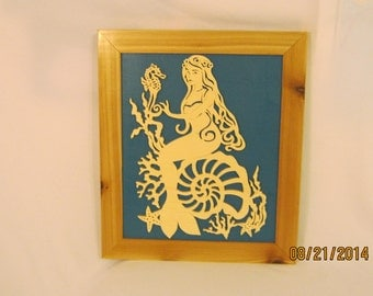 MERMAID FRAMED Scroll Saw Art Work