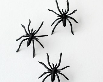 Spider Cupcake Rings - Black Spider Cupcake Toppers (set of 12) - Halloween Cupcakes, Cakes and Party Favors