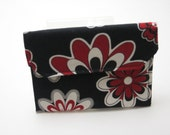 Mini Wallet, gift card holder, business card holder. Grab and Go Wallet. Black Red and White,  Ready to ship