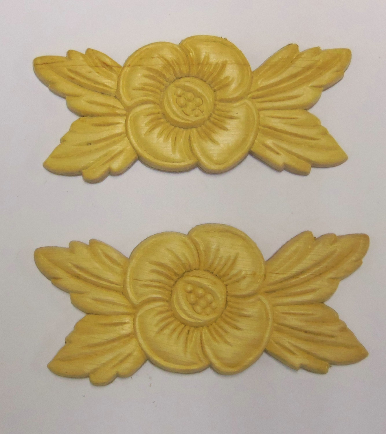 4 Wood Appliques Onlays Birch Embossed Furniture Trim Supplies