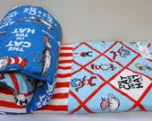 Dr Seuss Baby Quilt-Gender Neutral Baby Bedding-Dr. Seuss Cat in the Hat Baby Blanket-Fantasy-Homemade Patchwork Quilt for Sale