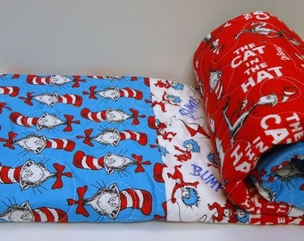 Baby Quilt-Gender Neutral Baby Bedding-Dr. Seuss Cat in the Hat Baby Blanket-Fantasy-Modern Patchwork Quilt for Sale