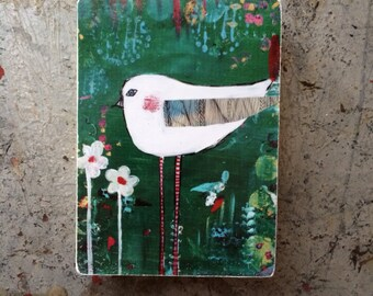 bird art block, ACEO  Reproduction Mounted On Wood Block by Sunshine Girl Designs (2.5 x 3.5 Inches Print)