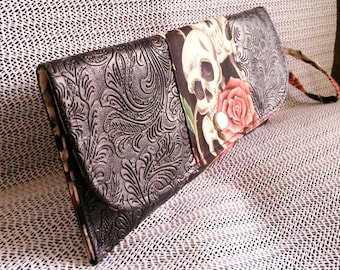 Black Embossed Pleather and Skulls Roses Clutch