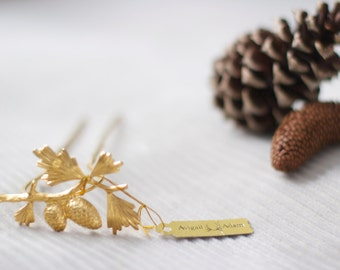 Gold Pinecone Hair Stick, Golden Forest Hair Accessories, Pinecone Hair Clip, Pinecone Gold Hair Pin