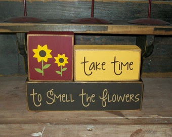 Primitive Distressed Spring Flowers Stacker Take Time To Smell The Flowers Wood Sign Blocks Seasonal Decor