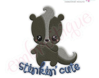 Stinkin Cute Skunk Fill Stitch - Instant Email Delivery Download Machine embroidery design