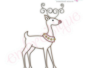 Simple Christmas Reindeer Embroidery Design - Small- Instant Email Delivery Download Machine embroidery design