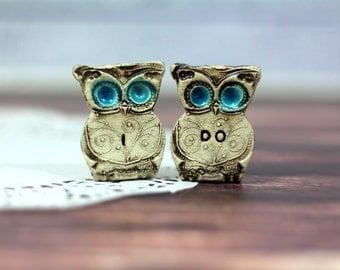 Owls Wedding cake topper - a pair of I DO owls Cute cake topper