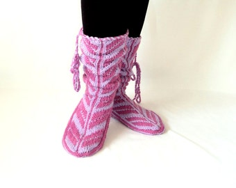 Wool Slippers, Handmade Slippers, Mukluk, Lilac Slippers, Leg Warmers, Knitt Socks, Women Socks