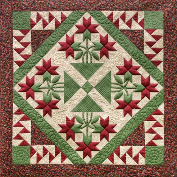 Quilt Patterns With Y Seams : Carolina Lily 4 Block Quilt Pattern NO Y Seams