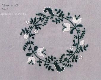 2 Colors Embroidery Pattern & Small Zakka Style Motif - Yumiko Higuchi - Japanese Craft Book - Natural, Flower, Herb, Bird Design - B1466