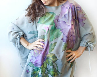 Silk Blouse Caftan Dress Hand Painted Tunic Kaftan Peonies Birds Grasshopper and Bee One Size Custom Order