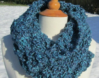 Mottled Ocean Blues Infinity Cowl Scarf Neck Warmer