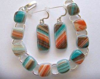 Teal Orange Fused Glass Statement Bracelet & Matching Earrings - Colorful Earth Tone Artisan Fashion Accessories - 104-14