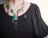 greenGODDESS- green agate smoky quartz points gunmetal chain bohemian statement necklace