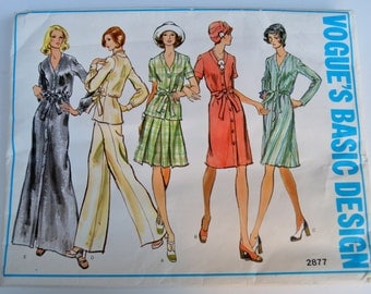 Vogue's Basic Design 2877 Misses Dress Tunic Pants and Skirt Size 14 UNCUT