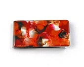 Money Clip Hand Painted Enamel in Orange Red Brown and White Moneyclip Quartz Inspired Glossy Finish with Personalized Option