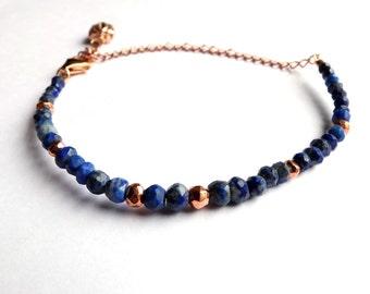 rose gold, lapis lazuli & pyrite bracelet, rose gold vermeil bracelet with rose gold lotus flower charm, adjustable, unique, ooak