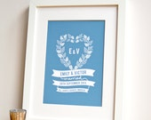 Personalized Wedding Heart Art Print, personalized wedding gift, personalized wedding art, gift for bride and groom, wedding shower gift
