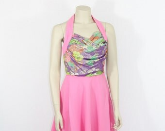 SALE.....1960's Vintage Dress - Hot Pink Designer Halter Dance Party Frock - 34 / 27 / full