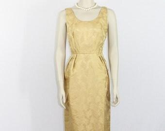 SALE.....Vintage 1960's Dress -  Long Formal Gold Damask Sleeveless Dress - 36 / 26 / 36
