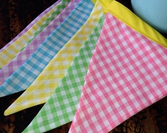 fabric pennant banner, bunting, spring, Easter, check fabric