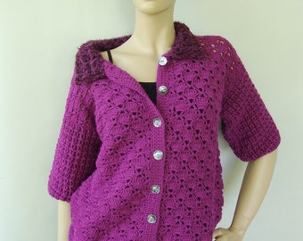Crochet Cardigan, Cardigan, Crochet Sweater, Orchid Sweater, Alpaca Sweater, Women's Gift, Gift for Her, Available in S/M and L/Xl