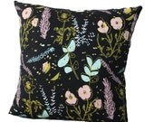Desert Floral Pillow in Blue Mint, Pale Pink and Yellow Ochre on Black