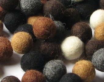 60 Hand-felted Wool Felt Balls 1 CM Neutral Mix Handbehg Felts Fiber Crafts