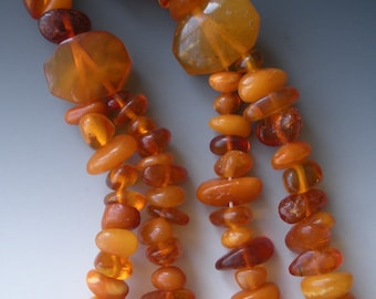 Deco Butterscotch and Honey Amber Necklace Double Strand Beautiful
