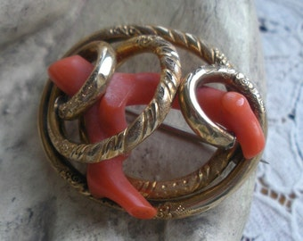 Victorian Coral Gold Fill Lovers Knot Brooch Exceptional Large