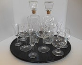 Vintage Cocktails for Four Bar Set -- Wine Brandy and Cordial Glasses with 2 Liquor Bottles and Black Wooden Round Tray -- Mad Men Style