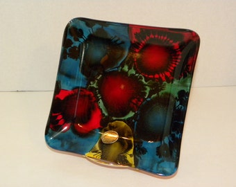 Vintage Italian Reverse Hand painted Tray --  Art Deco Made in Italy -- Vivid Blue Red Green and Yellow Abstract